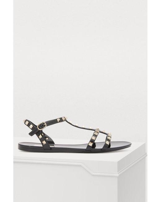 73f9f1f5b2385d Valentino - Black Garavani Sandals - Lyst ...