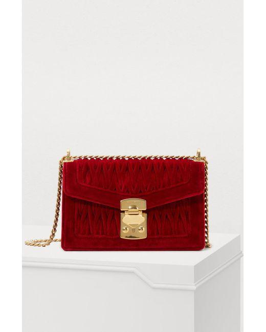 3d2b2250097d Miu Miu - Red Miu Confidential Velvet Shoulder Bag - Lyst ...