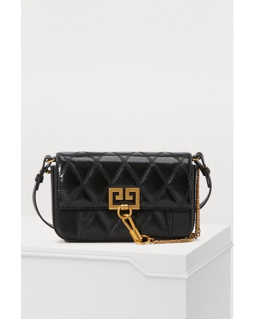 0919f9fcbfcb Givenchy - Black Mini Pocket Bag In Diamond Quilted Leather - Lyst ...