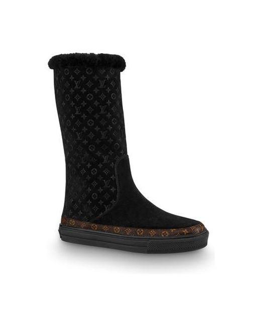 Louis Vuitton Black Snowball Flat Half Boot