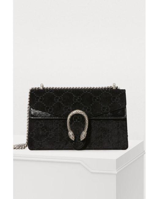 4564523969e Gucci - Black Sac Porté Épaule En Velours Frappé Et En Cuir Texturé  Dionysus Small ...