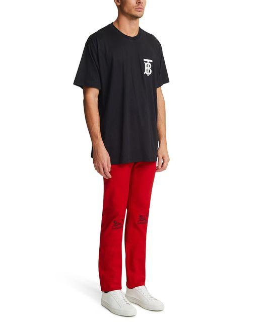T-shirt oversize en coton Monogram Burberry pour homme en coloris Black