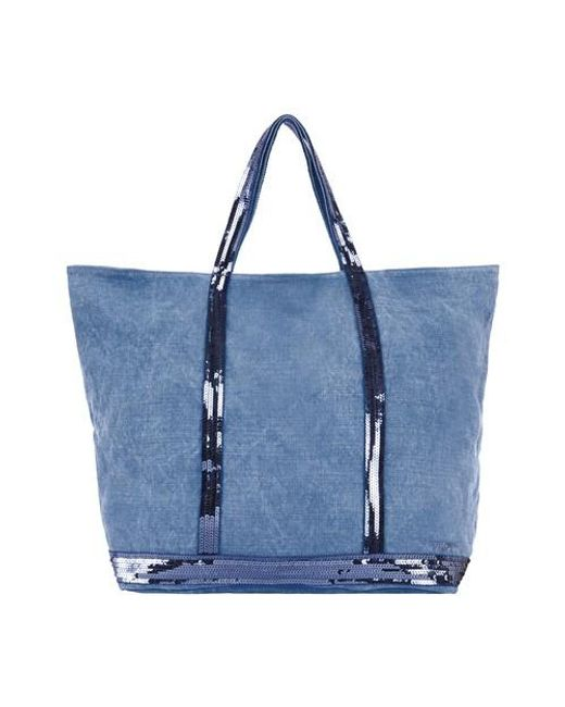 Vanessa Bruno Blue Linen And Sequins Xl Cabas Tote