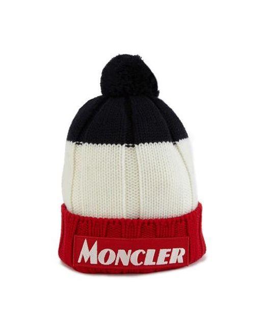 Moncler Red Tricolour Beanie for men