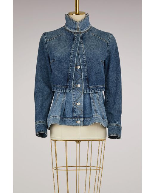 Alexander McQueen - Blue Layered Denim Jacket - Lyst