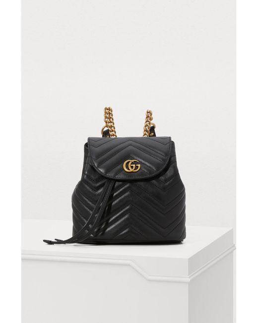 8e5065e31 Gucci - Black GG Marmont Small Backpack - Lyst ...