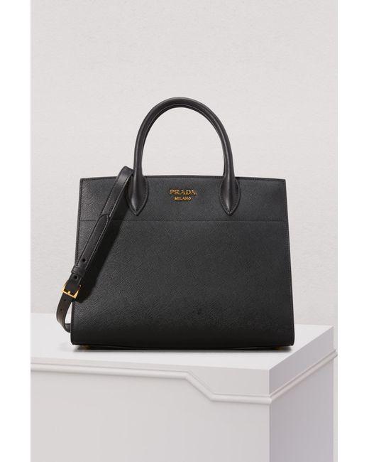 16c65ffdf512 Prada - Black Bibliothèque Handbag - Lyst ...