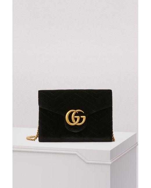 f91decf8c0d8 Gucci - Black GG Marmont Velvet Mini Bag - Lyst ...