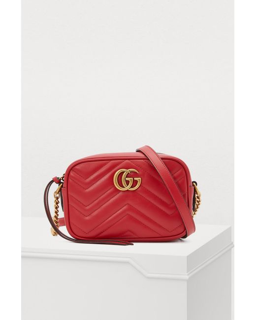 6291fc818 Gucci - Red GG Marmont Sm Crossbody Bag - Lyst ...