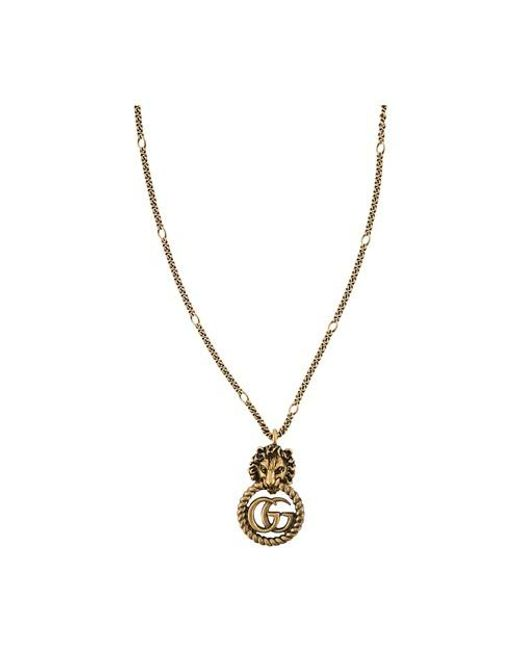 Gucci Metallic GG Marmont Lion Necklace