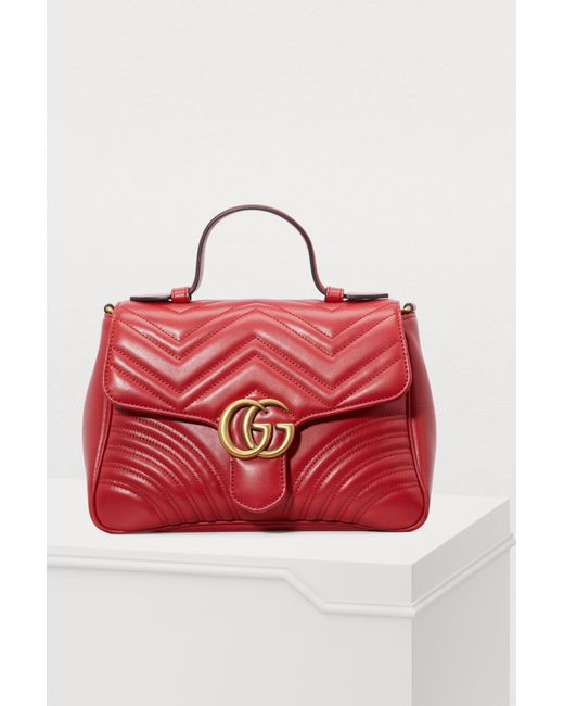 Lyst - Gucci GG Marmont Matelassé Top Handle Bag in Red - Save 9% 786a15c9ea3ad