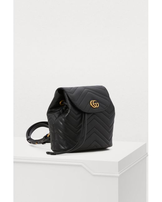 168278bcc14e ... Gucci - Black GG Marmont Small Backpack - Lyst ...