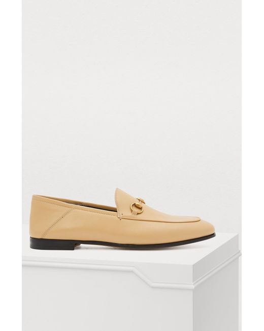 a3d186e1fd8 Gucci Beige Brixton Leather Loafers in Natural - Save 24% - Lyst