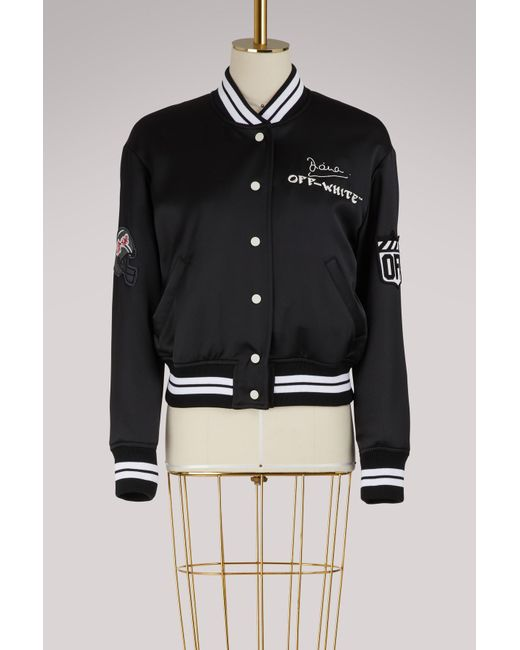 Off-White c/o Virgil Abloh - Black Satin Varsity Jacket - Lyst