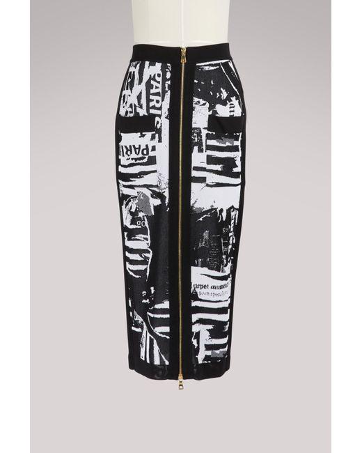 Balmain - Black Zippered Midi Skirt - Lyst