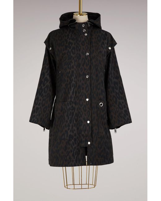 Proenza Schouler - Black Leopard Printed Coat With Removable Sleeves - Lyst