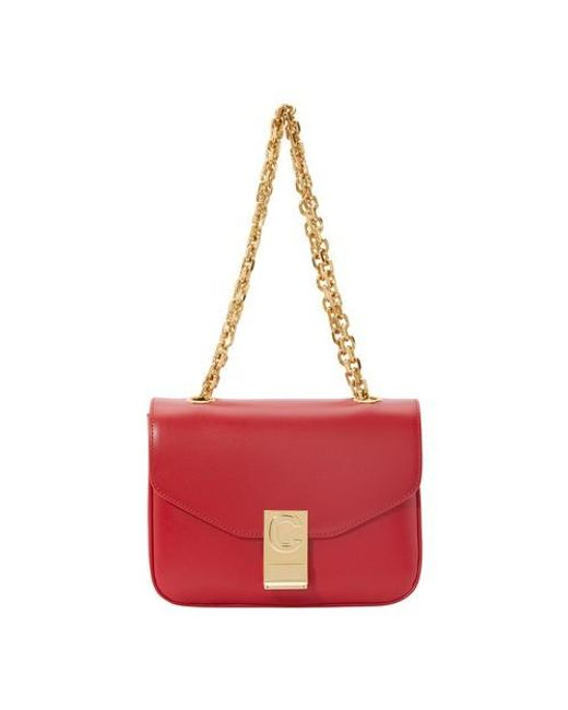 Women's Red Small C Bag In Polished Calfskin