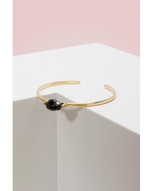 Isabel Marant - Black Bracelet In Brass And Glass - Lyst