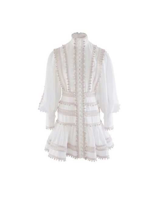 Zimmermann White Embroidered Button-detailed Ramie Mini Dress