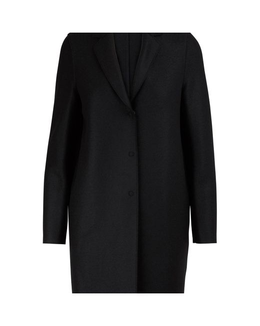Harris Wharf London Black Cocoon Coat In Felted Wool