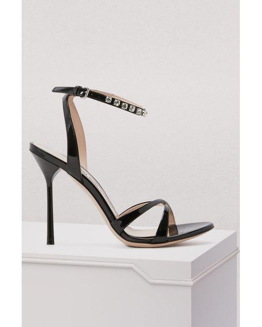 Miu Miu - Black Crystals Sandals - Lyst