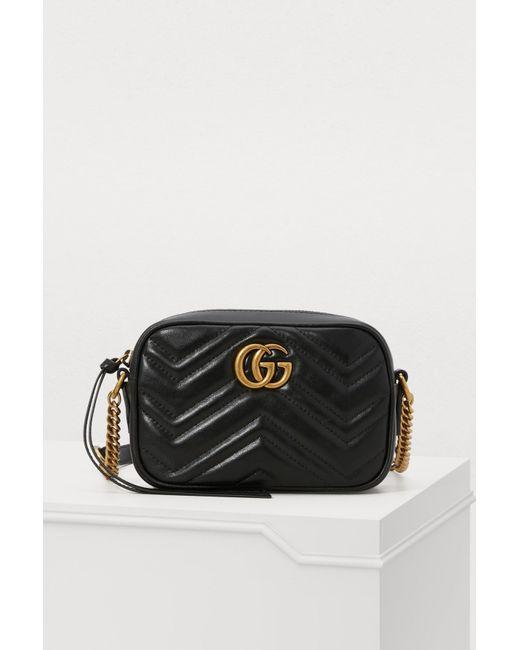Lyst - Petit sac porté croisé GG Marmont Gucci en coloris Noir da906b88d2c