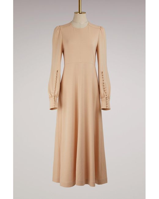 Chloé   Natural Buttoned-ankle Maxi Wool Dress   Lyst