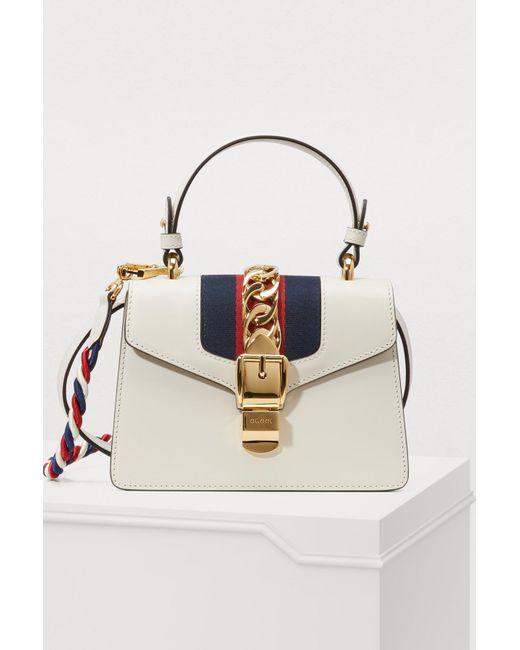 b4ad3fde6d44 Gucci - White Sylvie Leather Mini Bag - Lyst ...