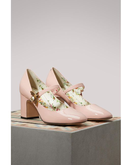 815bc06ed ... Gucci - Pink Patent Leather Pumps With Bee - Lyst ...