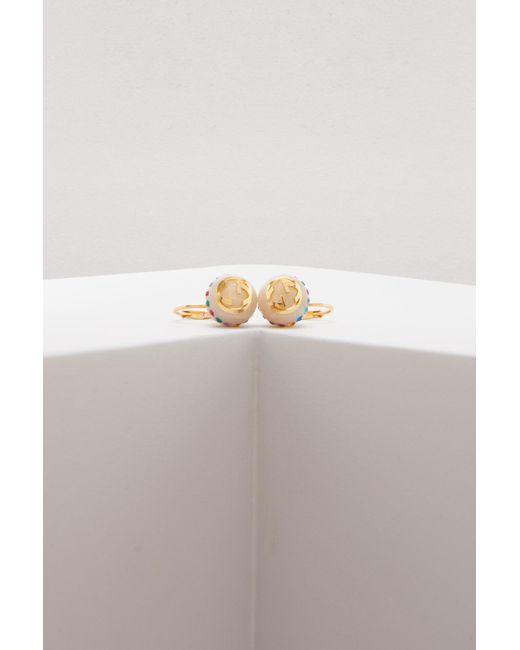 Gucci - Metallic Vintage Web Pearls Earrings - Lyst