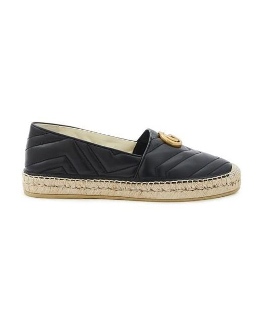 Gucci Leather Gg Espadrilles in Black