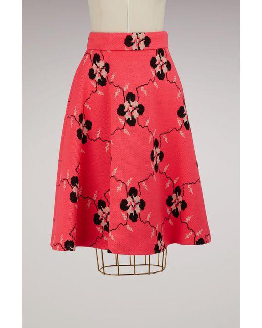 Miu Miu - Pink Flower Print Midi Skirt - Lyst