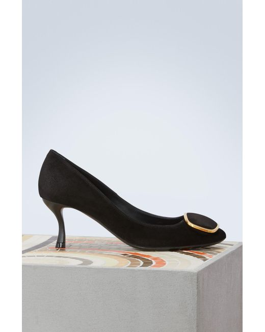 4caa46e4633 Roger Vivier - Black Metal Buckle Pumps - Lyst ...