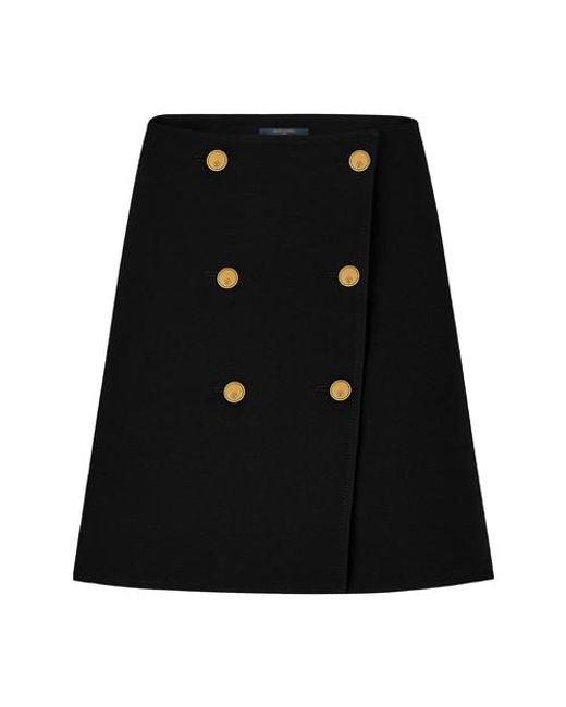 Louis Vuitton Black Wool And Silk Button Skirt