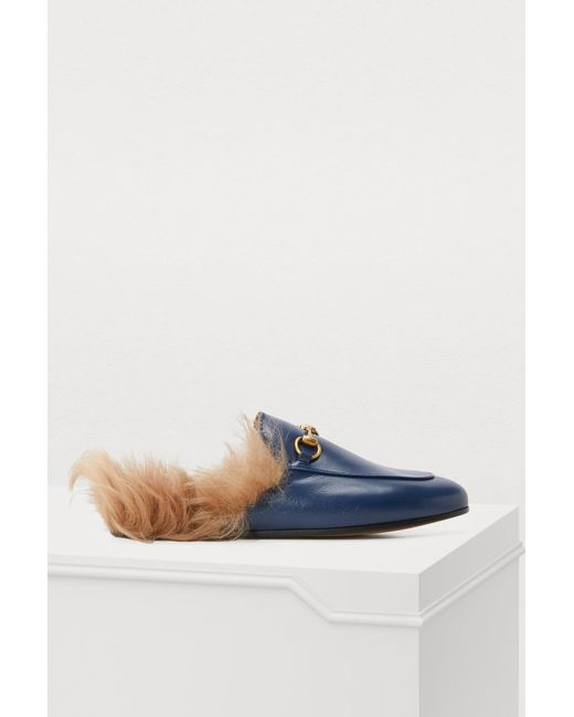 191435909e0 Gucci - Blue Princetown Shearling Lined Leather Backless Loafers - Lyst ...