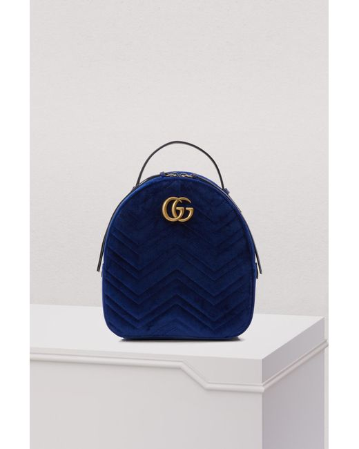 d95b7a425ad3 Gucci GG Marmont Velvet Backpack in Blue - Save 3% - Lyst