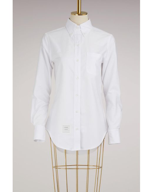 Thom Browne - White Cotton Oxford Shirt - Lyst