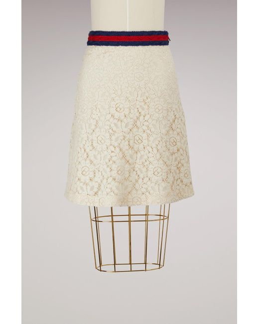 Gucci | Natural Lace Skirt With Web | Lyst