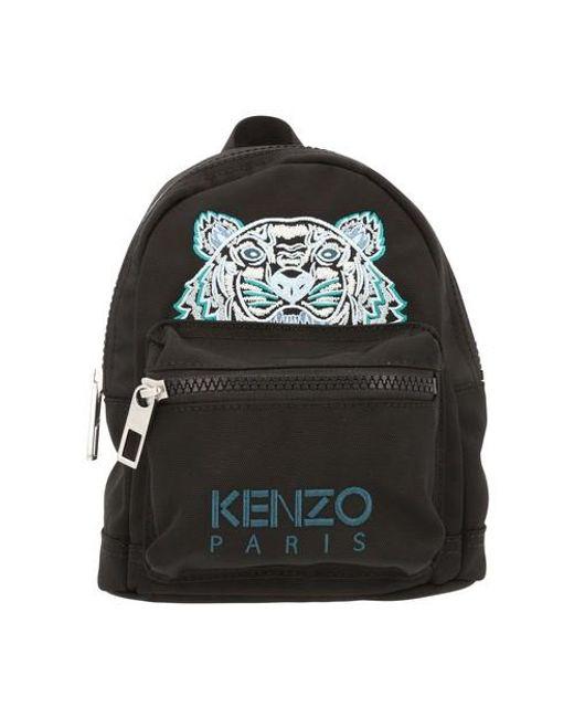 KENZO Black Mini Tiger Embroidered Backpack for men