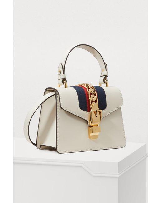 5112991f2103 ... Gucci - White Sylvie Leather Mini Bag - Lyst ...