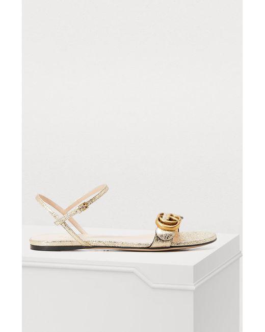 5528e3270f5e Gucci - Metallic GG Marmont Sandals - Lyst ...