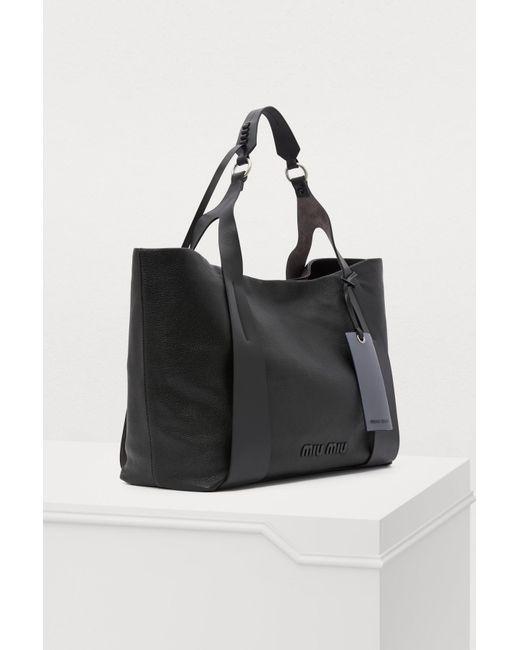 0b595c01ec04 ... Miu Miu - Black Leather Gm Tote Bag - Lyst ...