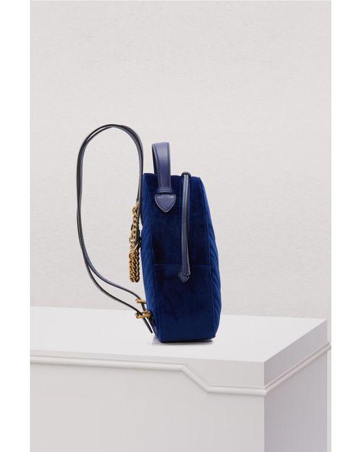 38cc1b4e6bc ... Gucci - Blue GG Marmont Velvet Backpack - Lyst ...
