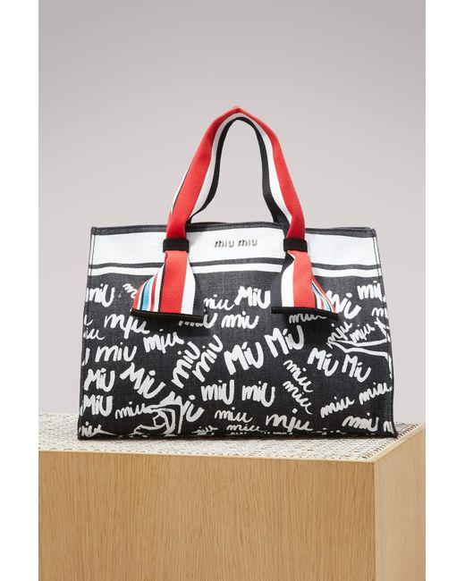 Miu Miu - Black Denim Logo Tote Bag - Lyst