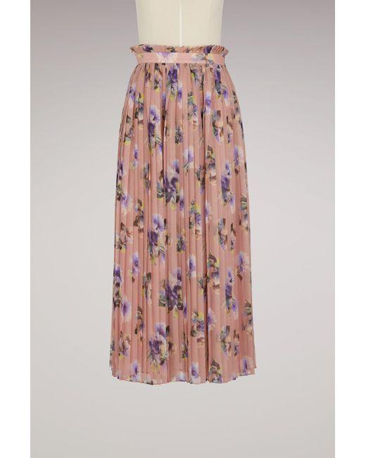 MSGM - Pink Georgette Floral Print Skirt - Lyst