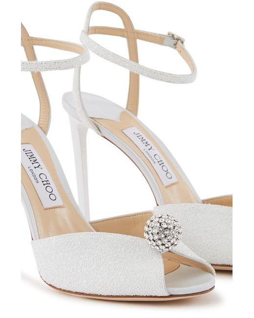 Jimmy Choo White Sacora 85 Lace Sandals