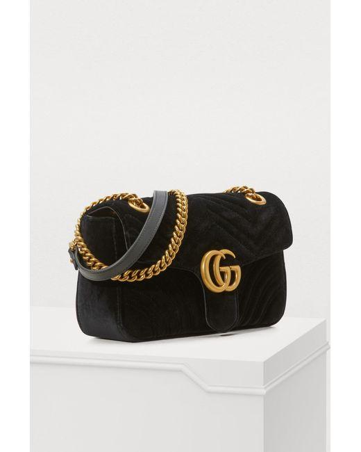 fdd03e032 ... Gucci - Black GG Marmont Velvet Shoulder Bag - Lyst ...