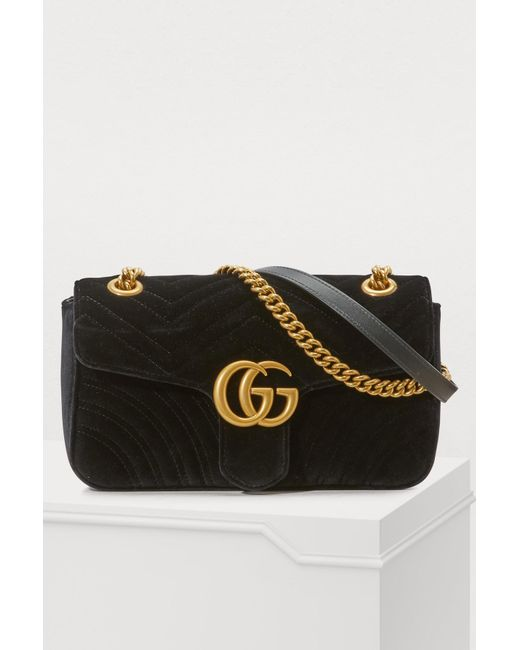 43578d3df50c Gucci - Black GG Marmont Velvet Shoulder Bag - Lyst ...