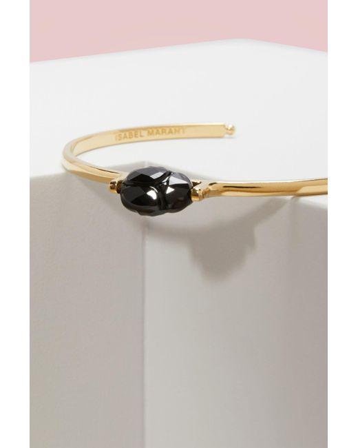 Isabel Marant   Black Bracelet In Brass And Glass   Lyst