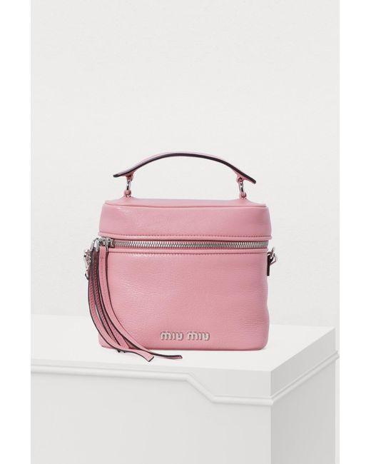 b24a8e9dde4ed Miu Miu - Pink Leather Camera Bag - Lyst ...